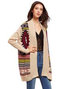 Apricot Geometric Pattern Sweater Cardigan