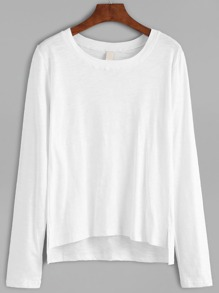 Dip Hem Split White T-shirt