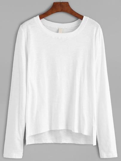 abfallendem Saum T-shirt -weiß