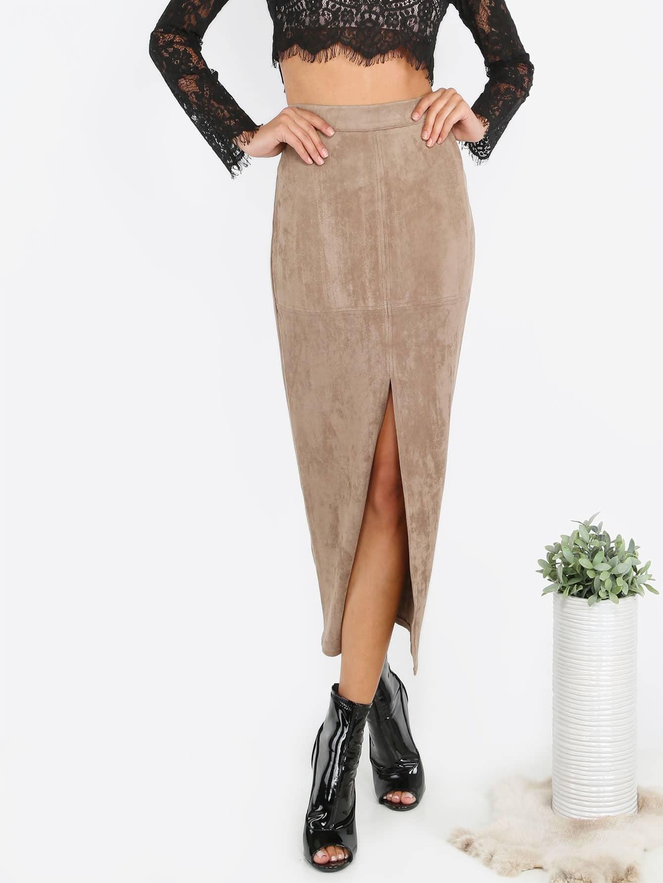 Фото Suede Slit Front Pencil Skirt. Купить с доставкой