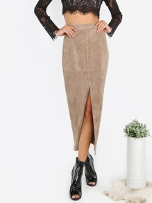 Suede Slit Front Pencil Skirt