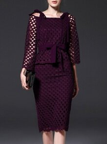 Purple Boat Neck Tie-Waist Mesh Top With Skirt