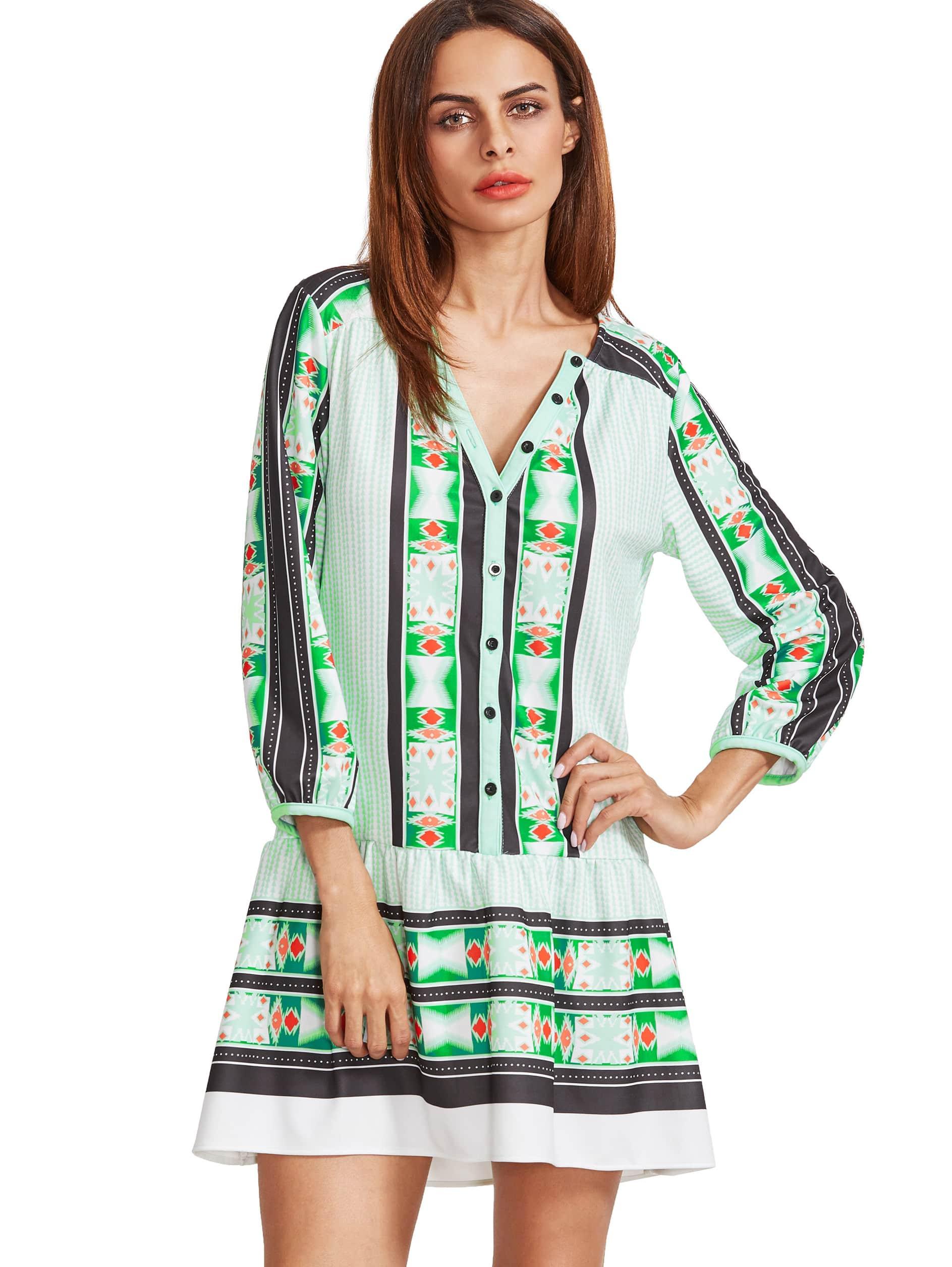 Фото Pale Green V Neck Vintage Print Tunic Dress. Купить с доставкой