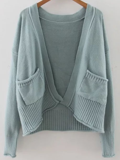 Blue Ribbed Trim Drop Shoulder Cardigan With Pockets sweater160909206