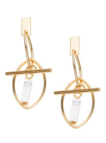 Gold Plated Geometric Marble Drop Earrings