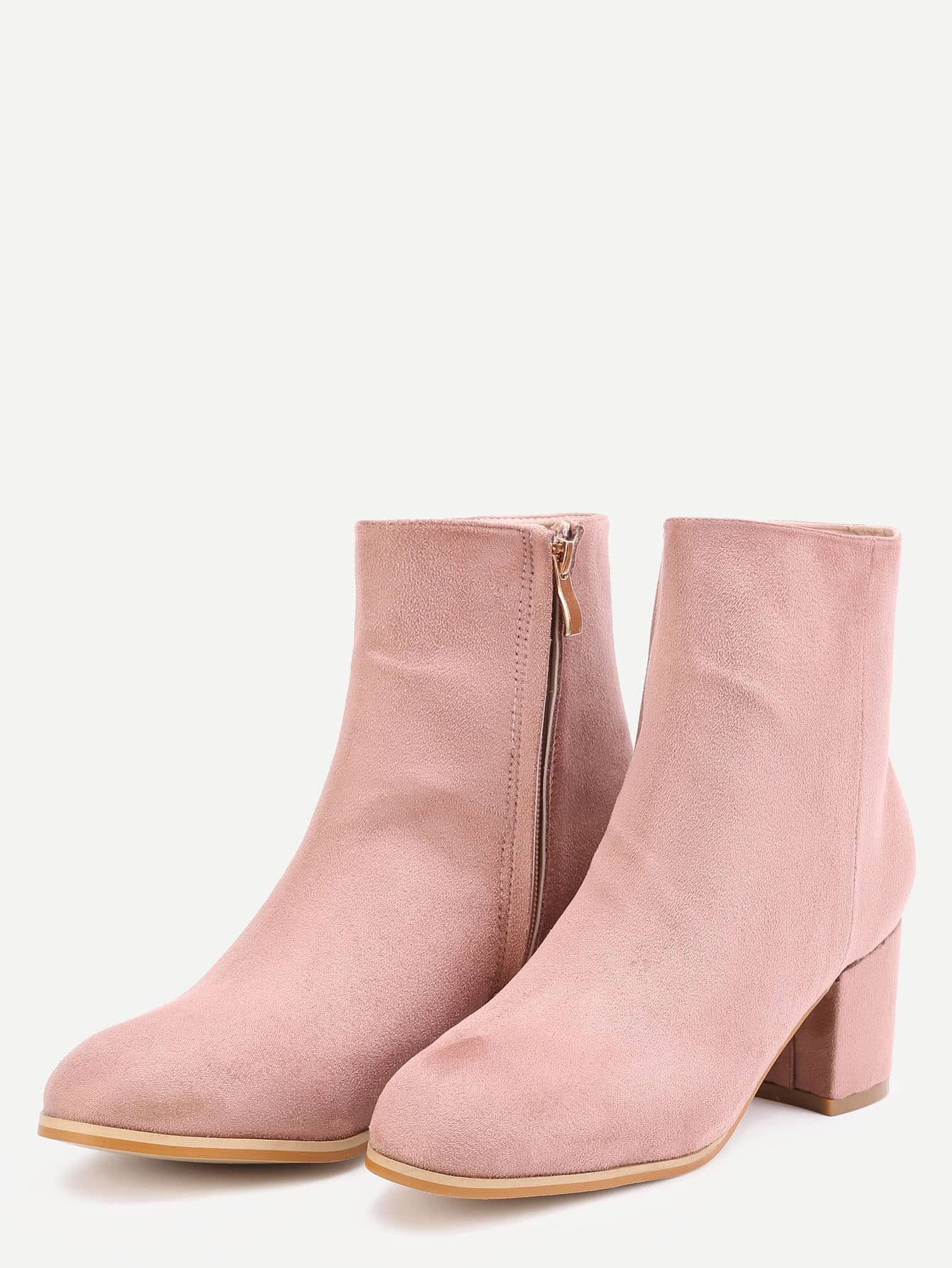 pink suede side zipper chunky heel boots shein