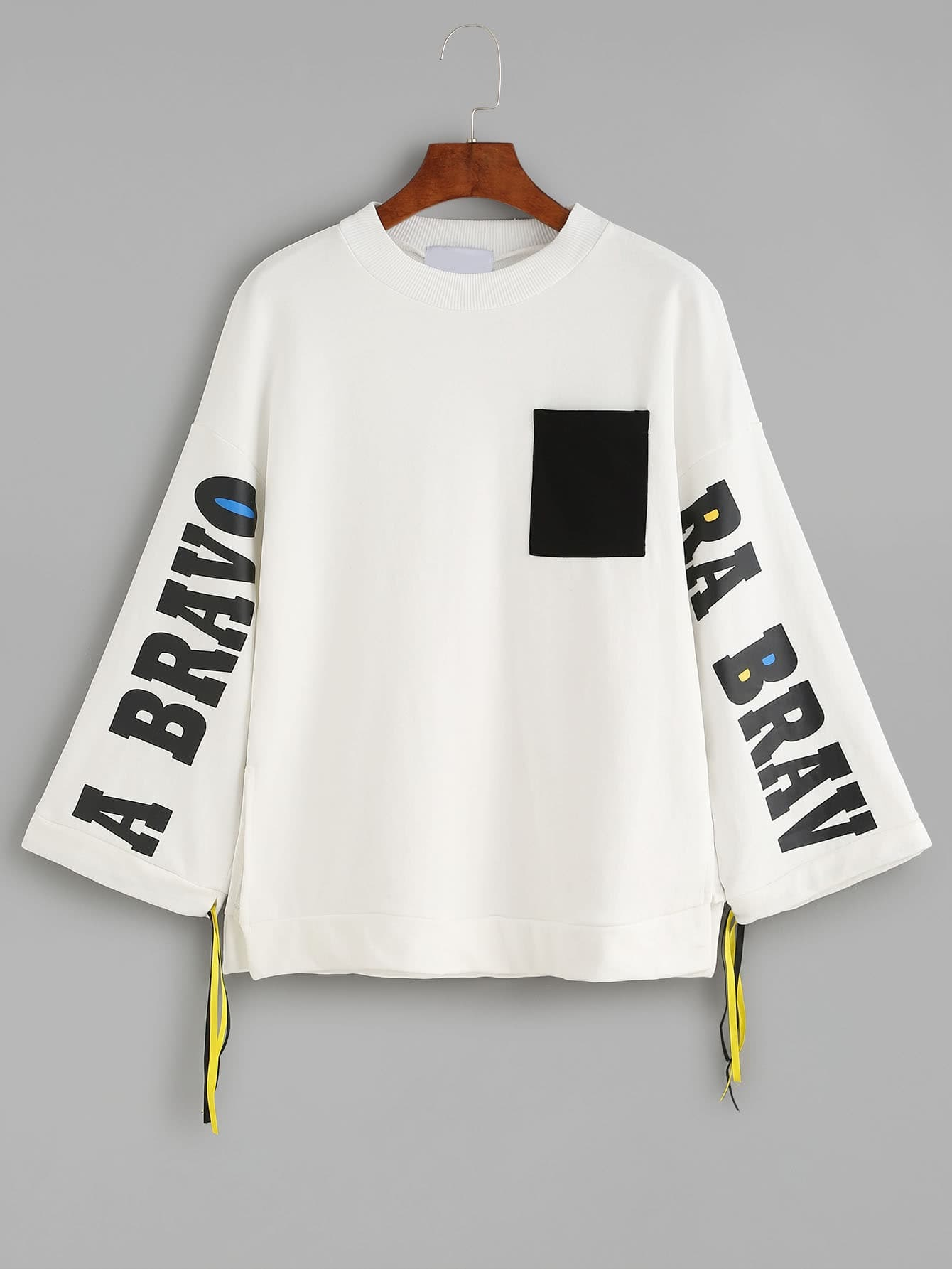 White Letters Print Contrast Pocket Drawstring SweatshirtWhite Letters Print Contrast Pocket Drawstring Sweatshirt<br><br>color: White<br>size: one-size
