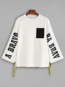 White Letters Print Contrast Pocket Drawstring Sweatshirt