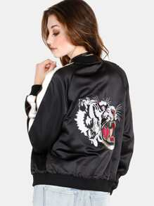 Embroidered Tiger Color Contrast Satin Bomber Jacket BLACK