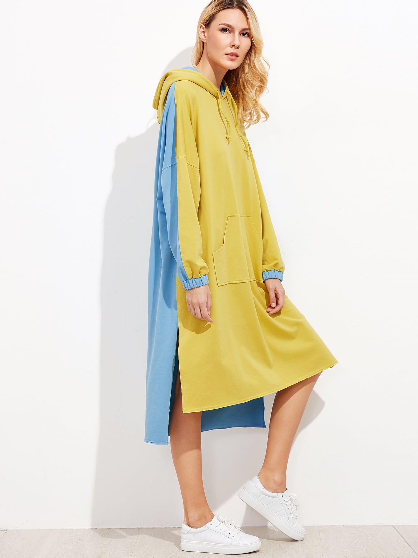 Contrast Drop Shoulder Side Slit High Low Hoodie Dress dress160926703