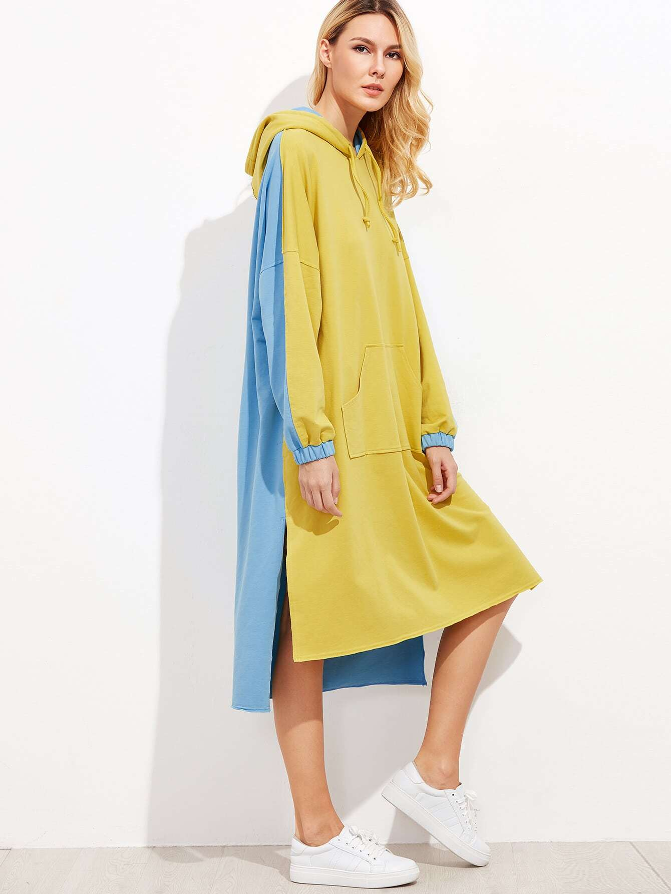 Contrast Drop Shoulder Side Slit High Low Hoodie Dress dress160926703