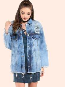 Oversized Light Acid Washed Denim Sleeve Crop Jacket DENIM