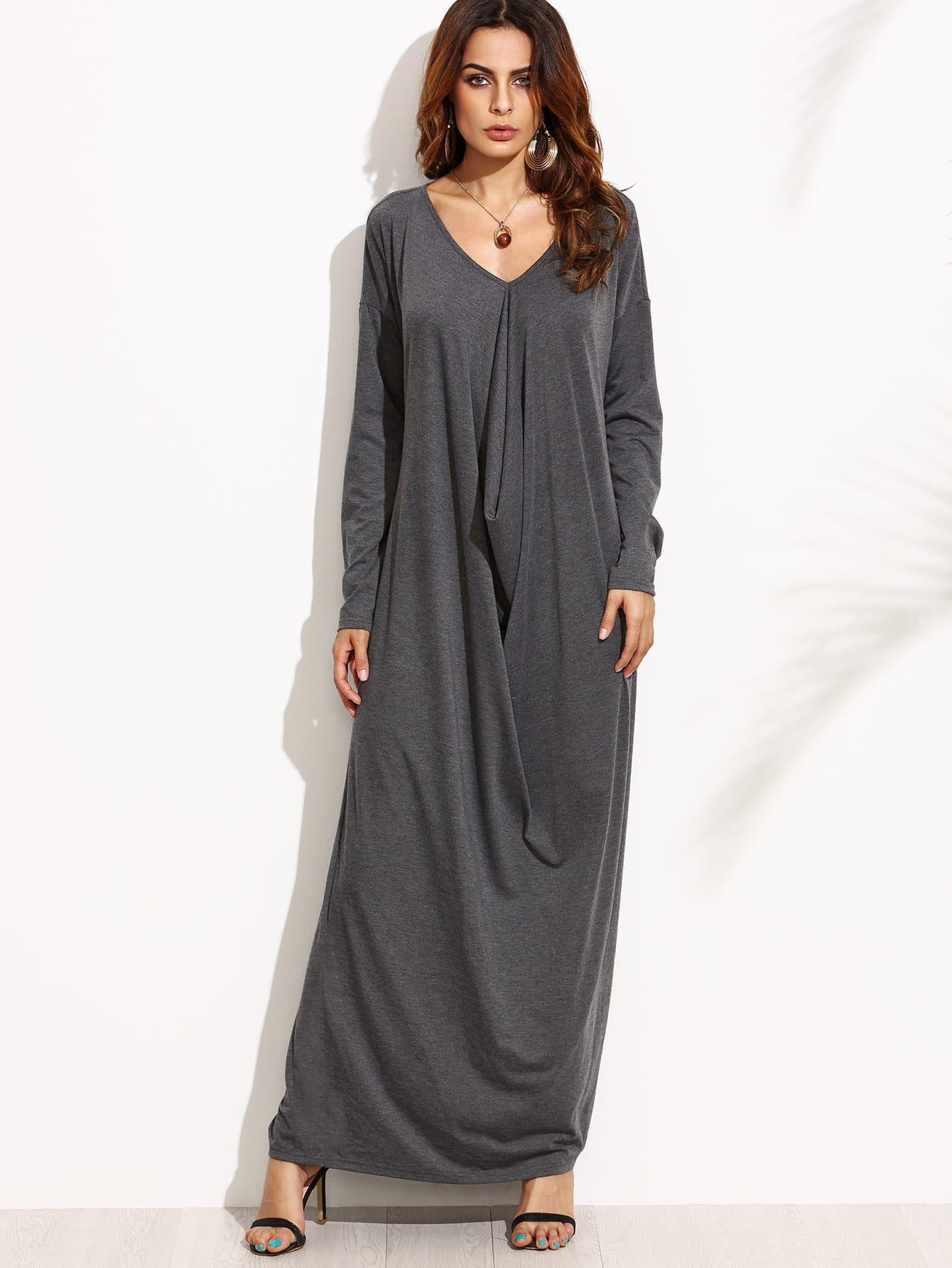 Drop Shoulder Draped Cocoon Dress