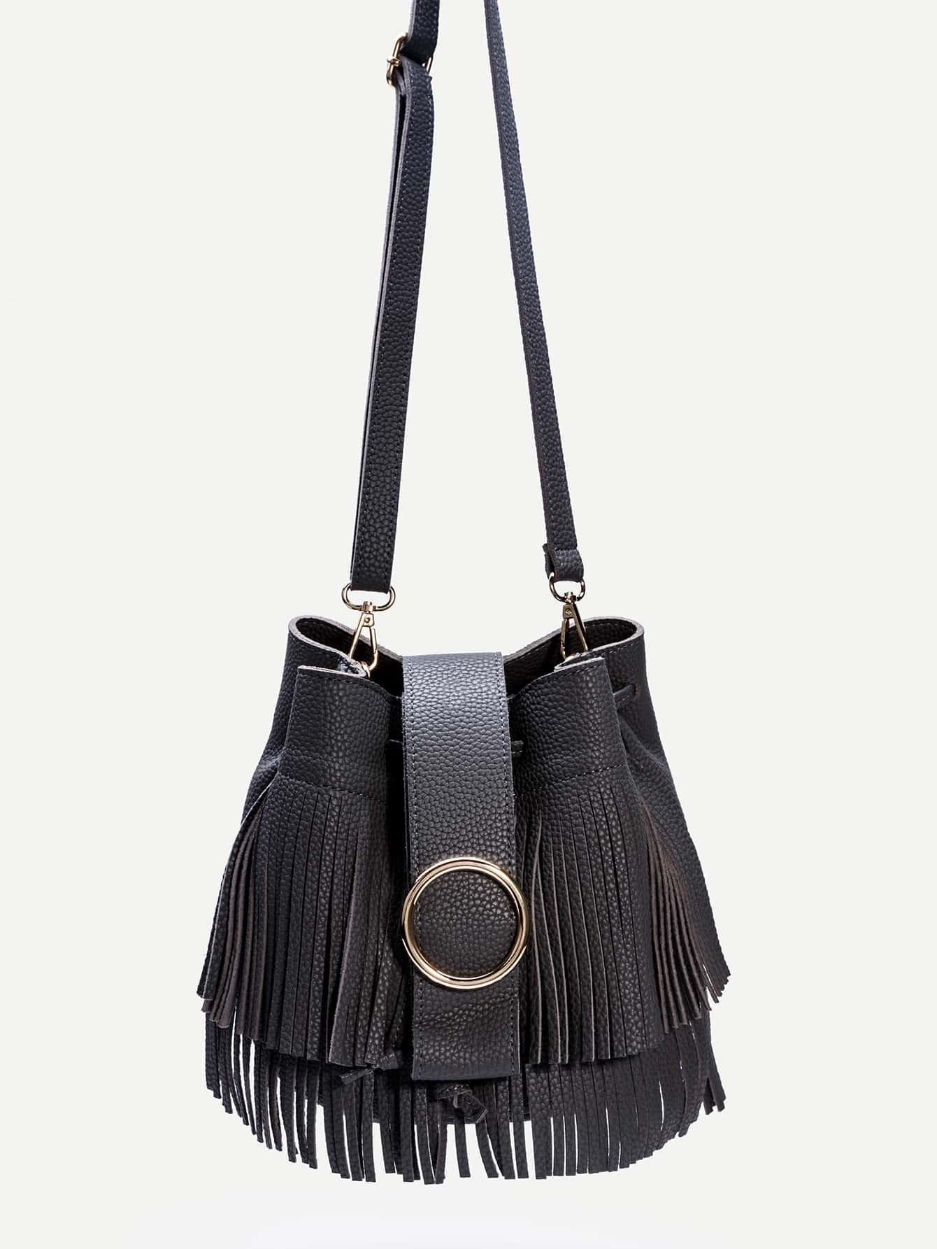Dark Grey PU Fringe Trim Drawstring Bucket Bag