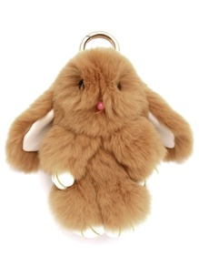 Light Camel Fluffy Bunny Keychain