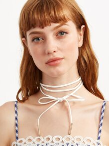 White Metal Bar Wrap Choker Necklace