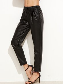 Black Faux Leather Drawstring Pants