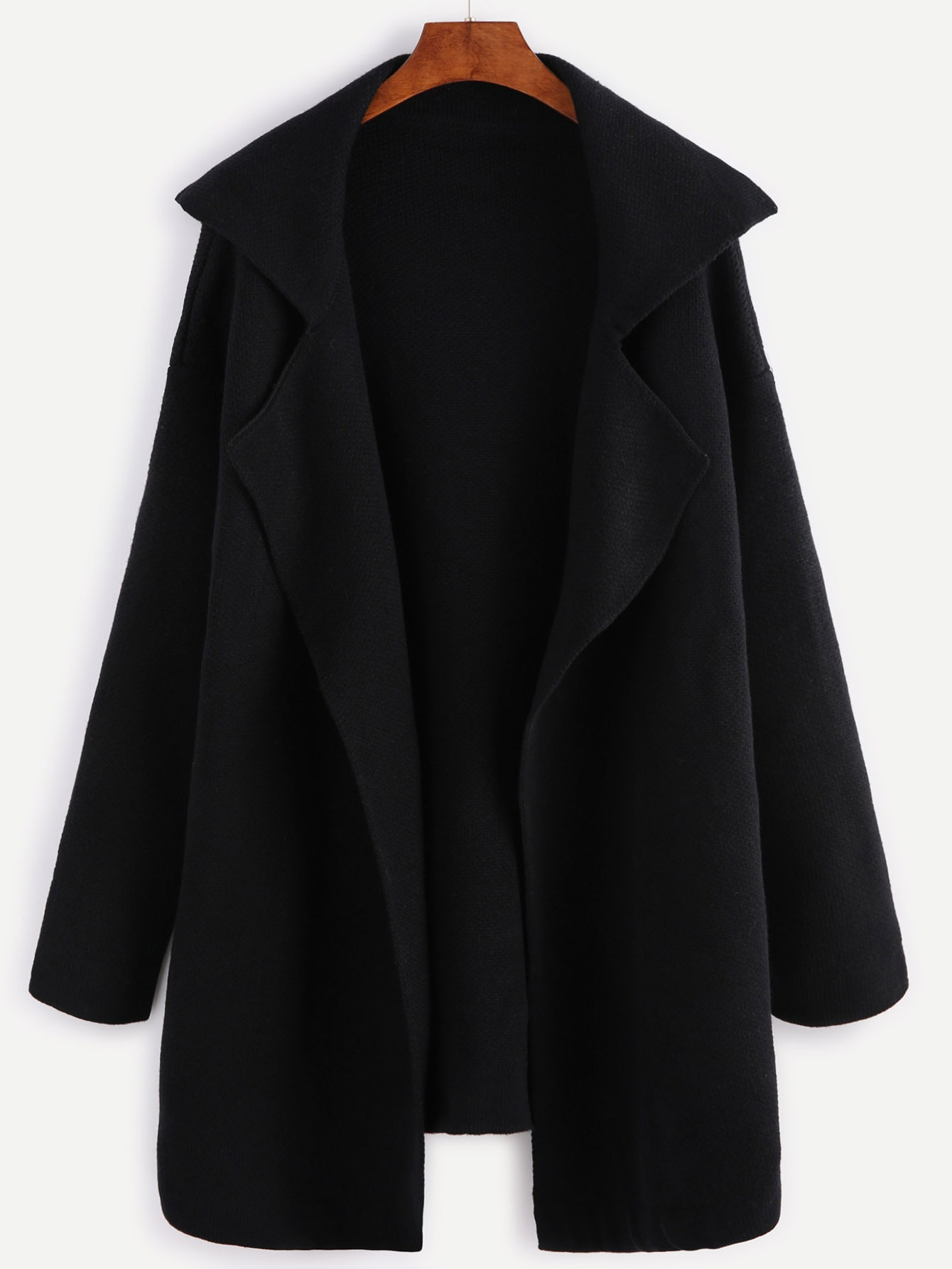 Black Notch Collar Open Front Sweater Coat black open front sleeveless cape coat