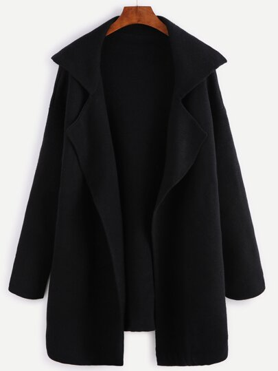 Black Notch Collar Open Front Sweater Coat
