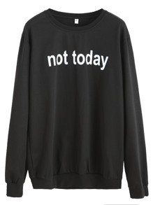Slogan Print Casual Sweatshirt