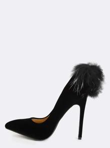 Stiletto Fur Ball Heels BLACK