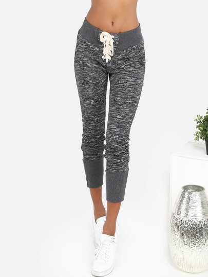 Lace Up Peppered Sweatpants CHARCOAL