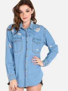 Distressed Flannel Button Up Top LIGHT DENIM