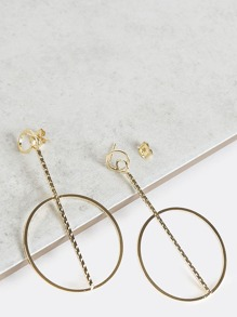 Metallic Bar Hoop Earrings GOLD
