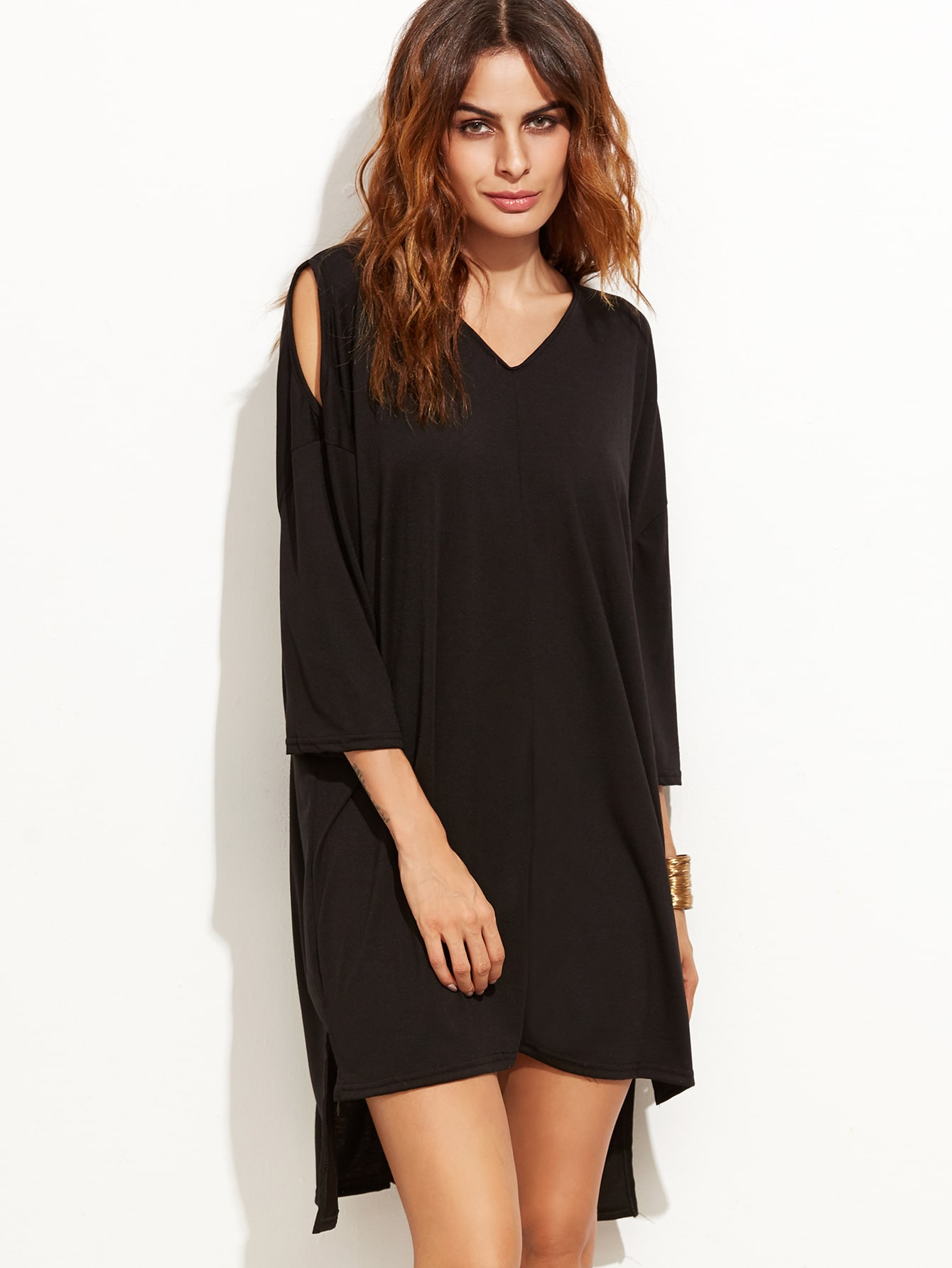 Black Open Shoulder Slit Side High Low Tee DressBlack Open Shoulder Slit Side High Low Tee Dress<br><br>color: Black<br>size: one-size