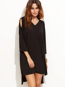 Black Open Shoulder Slit Side High Low Tee Dress