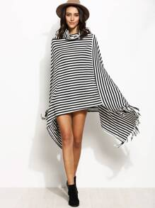 Contrast Striped Cowl Neck Fringe Asymmetric Cape Coat
