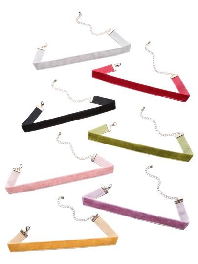 Multicolor Velvet Slim Choker Necklace Set