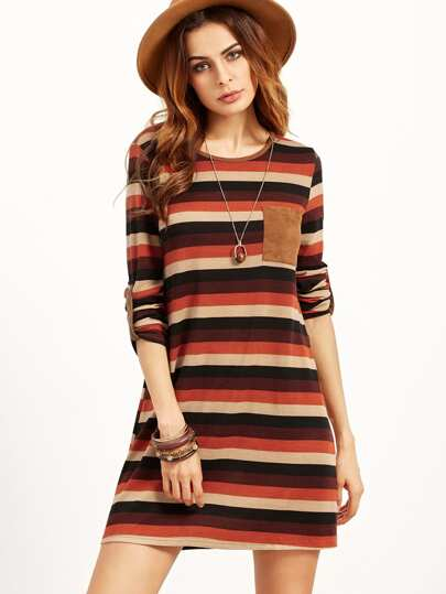 Block Striped Roll Sleeve Dress With Patch Pocket