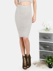 Fuzzy Knit Midi Skirt GREY