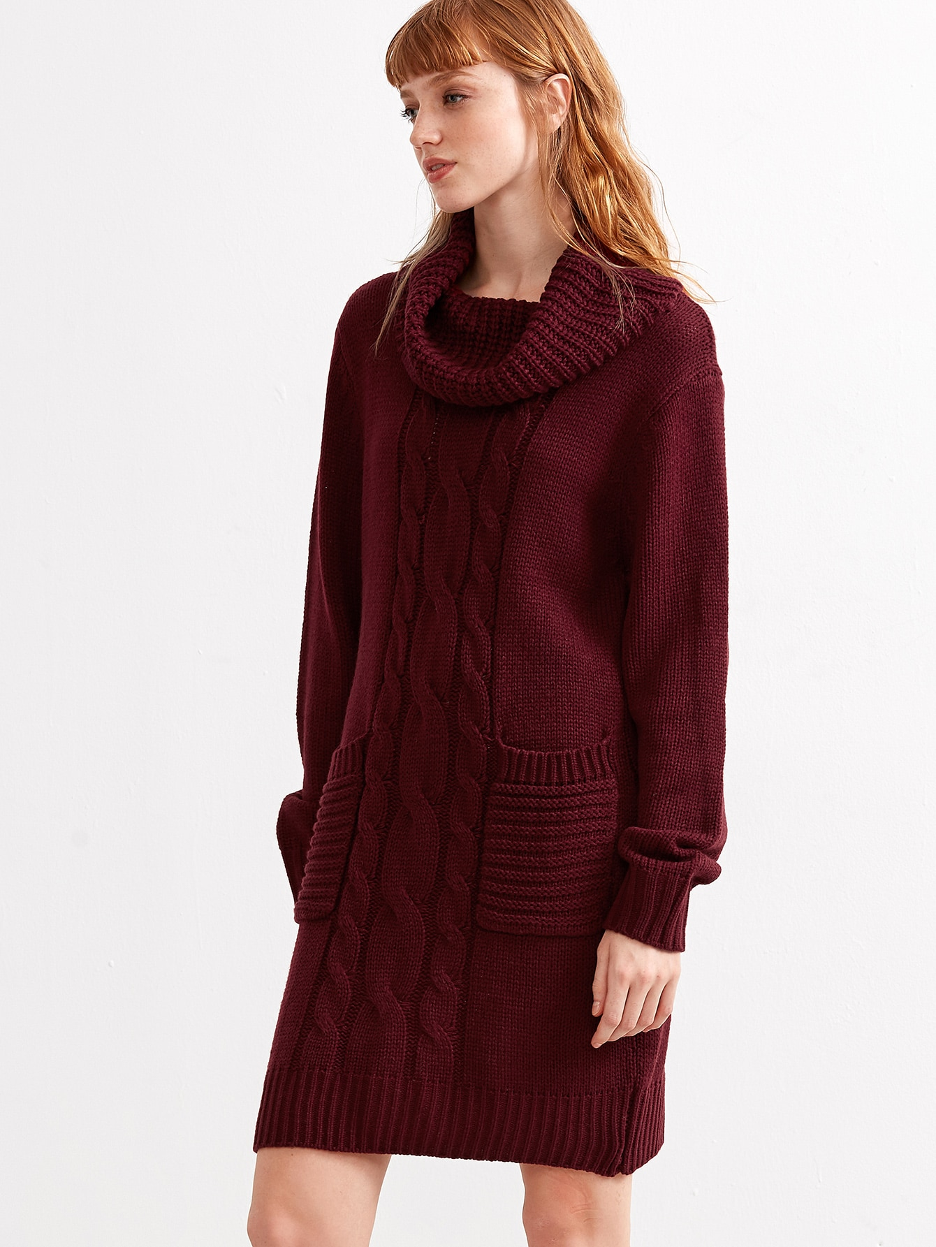 Burgundy Cable Knit Cowl Neck Sweater Dress With Pocket -SheIn ...