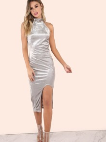 Sleeveless Mock Neck Curved Hem Midi Velvet Dress SILVER