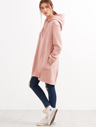 Pink Double Hoods Pleated Hem Longline Sweatshirt