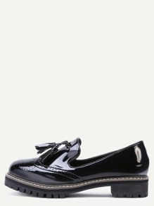 Black Wingtip Patent Leather Tassel Trim Loafers