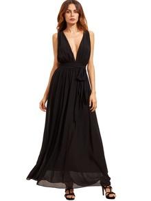 Black Deep V Neck Self-tie Waist Maxi Dress