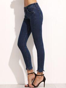 Blue Asymmetric Hem Skinny Ankle Jeans