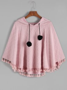 Pink Hooded Plaid Embossed Fringe Hem Poncho Coat
