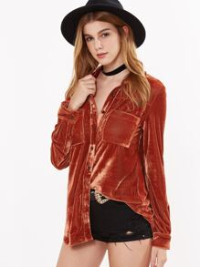 Brick Red Button Front Velvet Equipment Blouse