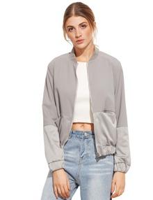 Color Block Pocket Zipper Front Long Sleeve Jacket