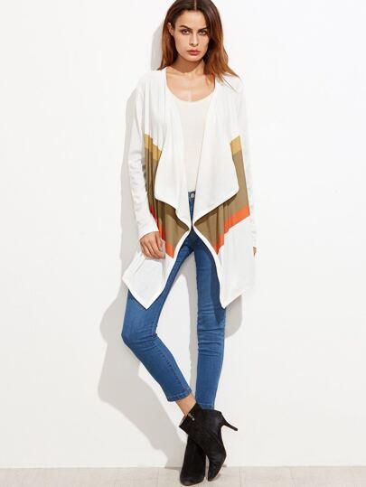 Abrigo con diseño de cascada de color combinado