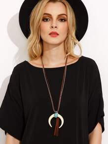 White Ox Horn Pendant Tassel Layered Necklace