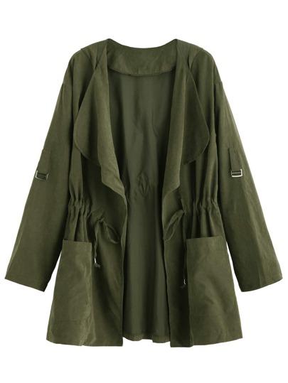 Manteau col châle taille coulissée - olivacé