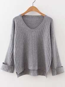 Grey V Neck Rolled Cuff High Low Sweater
