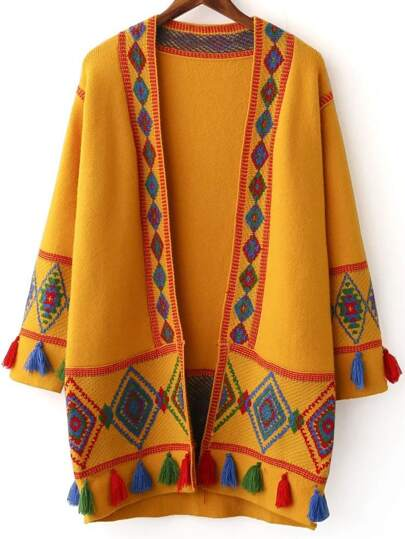 Ginger Tribal Pattern Fringe Detail Cardigan