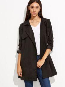 Black Roll Sleeve Split Back Duster Coat