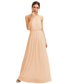Apricot Sleeveless Halterneck Pleated Infinity Maxi Dress